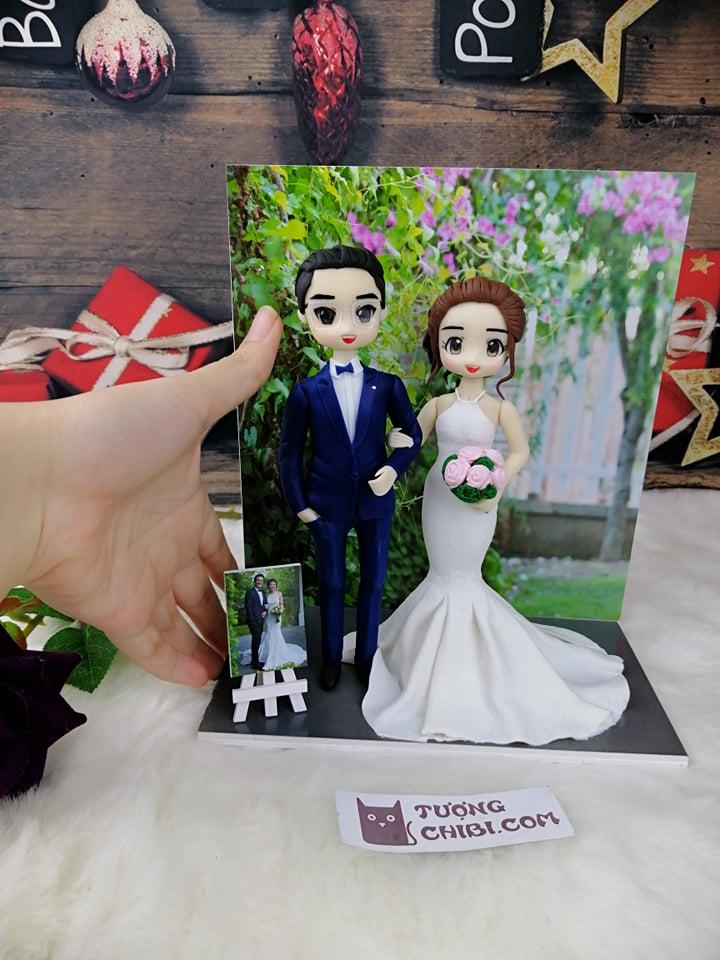 Bảng giá tượng cưới cô dâu chú rể đất sét nhật handmade mô phỏng ảnh chụp người thật