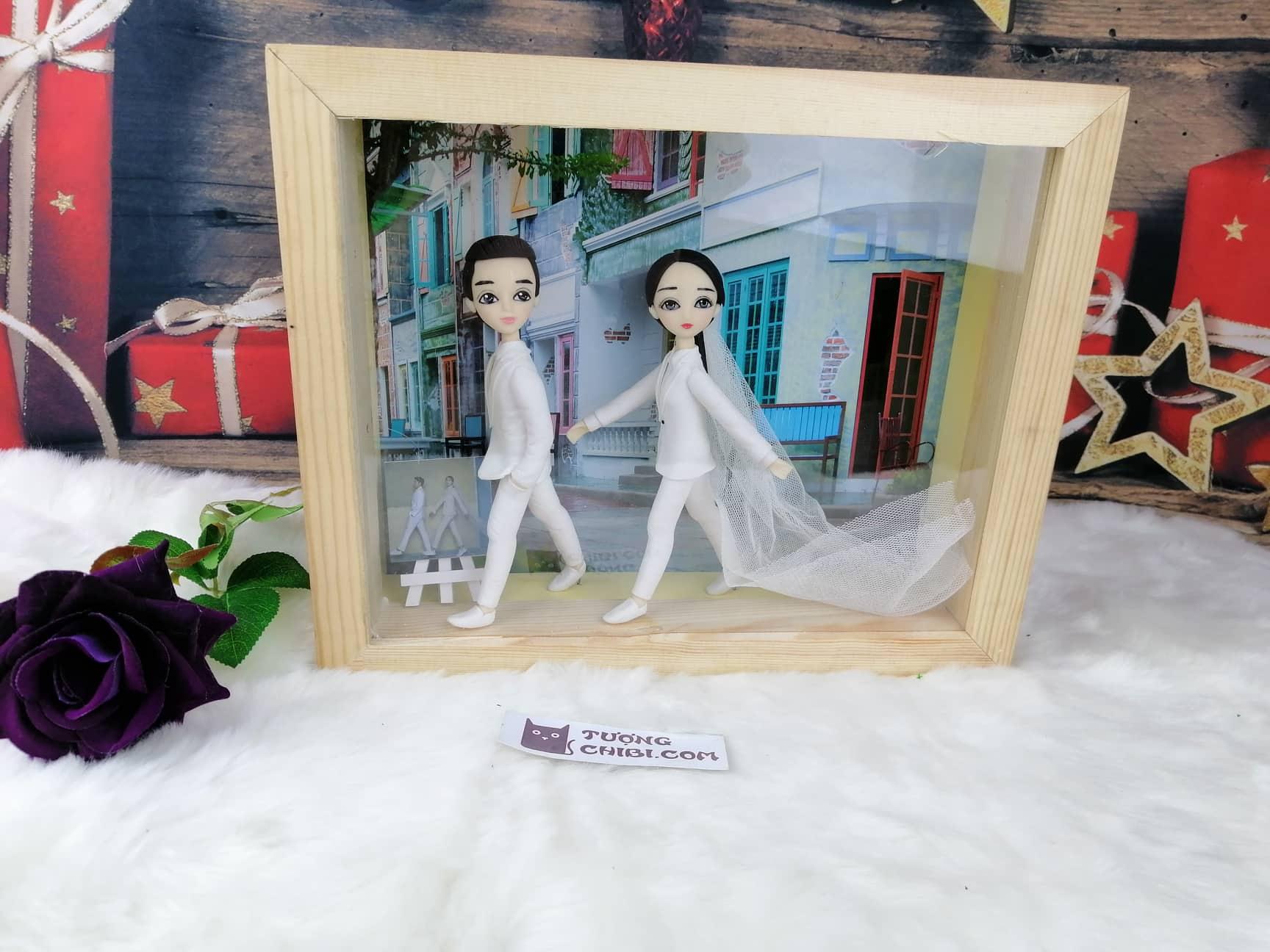 Khung tranh tượng chibi, khung tranh 3D, khung tranh đám cưới