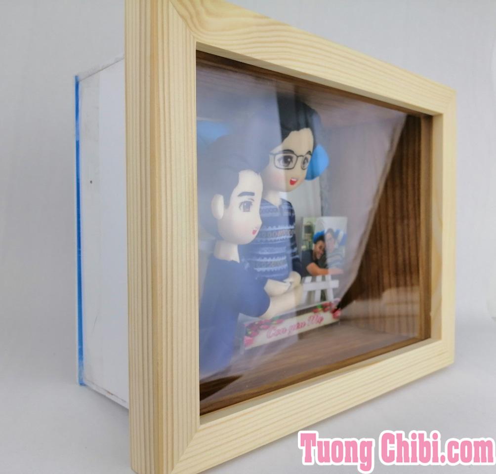 khung tranh gỗ thông 3D